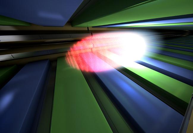 Um die extrem kurzen und intensiven Röntgenlaserblitze zu erzeugen, werden hochenergetische Elektronenpakete durch spezielle Magnetanordnungen (Undulatoren) gelenkt.  To generate the extremely short and intense X-ray laser flashes, bunches of high-energy electrons are directed through special arrangements of magnets (undulators).